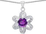 Star K™ Round Genuine Amethyst Flower Pendant Necklace style: 302906