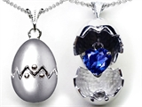 Star K™ Egg Pendant Necklace with September Birth Month Created Heart Sapphire Surprise Inside style: 302911