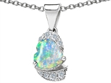 Star K™ Heart Shape Simulated Opal And Cubic Zirconia Pendant Necklace style: 302930