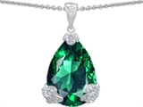 Star K™ Large 11x17 Pear Shape Simulated Emerald Designer Pendant Necklace style: 302935