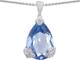 Star K™ Large 11x17 Pear Shape Simulated Aquamarine Designer Pendant Necklace style: 302936