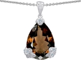 Star K™ Large 11x17 Pear Shape Genuine Smoky Quartz Designer Pendant Necklace style: 302938