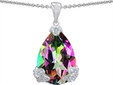 Star K™ Large 11x17 Pear Shape Multicolor Mystic Topaz Designer Pendant Necklace style: 302939