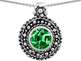 Star K™ Bali Style Round 7mm Simulated Emerald Pendant Necklace style: 302942