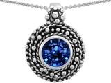 Star K™ Bali Style Round 7mm Created Sapphire Pendant Necklace style: 302943