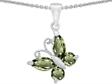 Star K™ Butterfly Pendant Necklace Made with Simulated Green Sapphire style: 302951