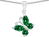 Star K™ Butterfly Pendant Necklace Made with Simulated Emerald style: 302954