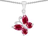 Star K™ Butterfly Pendant Necklace Made with Created Ruby style: 302956