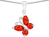 Star K™ Butterfly Pendant Necklace Made with Simulated Mexican Fire Opal style: 302958