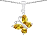 Star K™ Butterfly Pendant Necklace Made with Simulated Citrine style: 302959