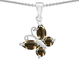 Star K™ Butterfly Pendant Necklace Made with Genuine Smoky Quartz style: 302961