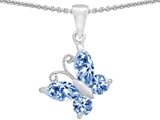 Original Star K™ Butterfly Pendant Made with Simulated Aquamarine style: 302969