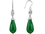 Star K™ Briolette Drop Cut Simulated Emerald Hanging Hook Chandelier Earrings style: 302984