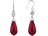 Star K™ Briolette Drop Cut Created Ruby Hanging Hook Chandelier Earrings style: 302985