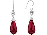 Star K™ Briolette Drop Cut Created Ruby Hanging Hook Chandelier Earrings style: 302985