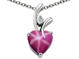 Star K™ Heart Shape Created 8mm Created Star Ruby Pendant Necklace style: 302992