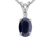 Star K™ GENUINE Oval Sapphire and Diamond Pendant Necklace style: 302993