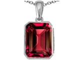 Star K™ Emerald Cut 10x8mm Created Ruby Pendant Necklace style: 302996