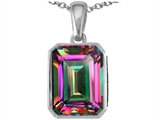 Star K™ Emerald Cut 10x8mm Rainbow Mystic Topaz Pendant Necklace style: 303001