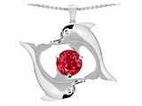 Star K™ Round 6mm Created Ruby Dolphin Pendant Necklace style: 303008