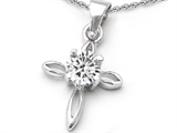 Star K™ Round Genuine White Topaz Cross Pendant Necklace style: 303022