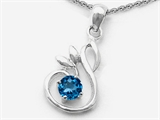 Star K™ Round Simulated Blue Topaz Swan Pendant Necklace style: 303024