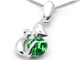 Star K™ Round 6mm Simulated Emerald Cat Pendant Necklace style: 303039