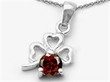 Celtic Love by Kelly Round Genuine Garnet Lucky Clover Pendant Necklace style: 303053