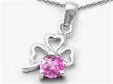 Celtic Love by Kelly Round Created Pink Sapphire Lucky Clover Pendant Necklace style: 303057