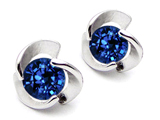 Star K™ Round 6mm Created Sapphire Flower Earrings Studs style: 303061