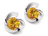 Star K™ Round Genuine Citrine Flower Earrings Studs style: 303065