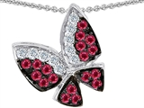 Star K™ Butterfly with Genuine Ruby and Diamond Pendant Necklace style: 303071