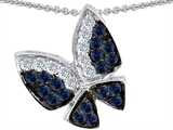 Star K™ Butterfly with Genuine Sapphire and Diamond Pendant Necklace style: 303072