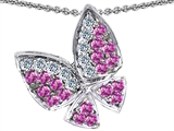 Star K™ Butterfly with Genuine Pink Sapphire and Diamond Pendant Necklace style: 303073