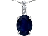Tommaso Design™ Genuine Sapphire and Diamond Pendant Necklace style: 303079