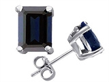 Star K™ Emerald Cut 8x6mm GENUINE Sapphire Earrings Studs style: 303085
