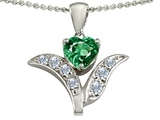 Original Star K™ Simulated Emerald Flower With 7mm Heart Pendant style: 303103