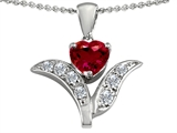 Star K™ Created Ruby Flower With 7mm Heart Pendant Necklace style: 303104