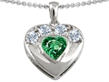 Star K™ Heart Shape Simulated Emerald Heart Pendant Necklace style: 303106