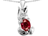 Star K™ Bunny Of Love Pendant Necklace With Oval 10x8 Created Ruby style: 303109