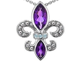 Star K™ Genuine Amethyst and Diamond Fleur De Lis Pendant Necklace style: 303114