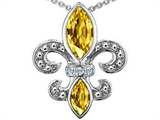 Star K™ Genuine Citrine and Diamond Fleur De Lis Pendant Necklace style: 303117