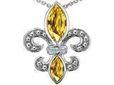 Original Star K™ Genuine Citrine and Diamond Fleur De Lis Pendant style: 303117