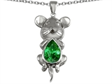 Star K™ Large Mouse Pendant Necklace With 11x9 Pear Shape Simulated Emerald style: 303133