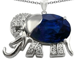 Star K™ Elephant Pendant Necklace With Oval Created Sapphire style: 303144