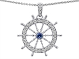 Star K™ Captain Wheel Pendant Necklace With Created Sapphire And Cubic Zirconia style: 303153