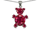 Star K™ Bear Pendant Necklace With Round Created Ruby style: 303164