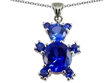 Star K™ Bear Pendant Necklace With Round Created Sapphire style: 303166