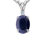 Star K™ GENUINE 8x6mm Oval Sapphire and Diamond Pendant Necklace style: 303170