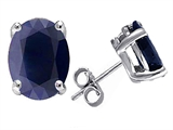 Star K™ Oval 8x6 GENUINE Sapphire Earrings Studs style: 303171